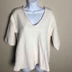Zara White Short Sleeve Knit Top Size M